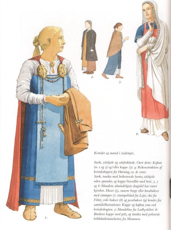 "interesting. Flemming Bau's apron-dress reconstruction in  Frank Birkebæk's ""Vikingetiden"""