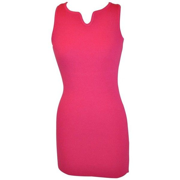 """Preowned Christian Dior """"boutique"""" Cashmere Blend Fuchsia Body-hugging... ($885) ❤ liked on Polyvore featuring dresses, day dresses, multiple, tanktop dress, pink tank dress, fuschia dress, tank top dresses and stretchy dresses"""