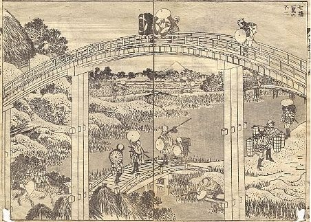 Mt Fuji with 7 Bridges in One View by Hokusai views of the student walkways