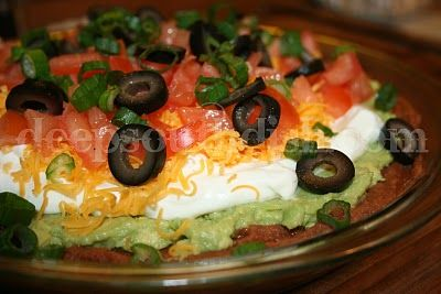 Classic 70s 7-Layer Dip: Sour Cream, Classic 70S, Birthday Parties, 70S 7 Layered, Classic 7Layer, 7Layer Dips, Green Onions, Deep South Dishes, 7 Layered Dips