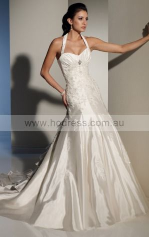 A-line Sleeveless Halter Lace-up Floor-length Wedding Dresses feaf1075--Hodress