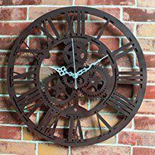 Horloge murale, Hmane vintage Horloge murale rustique Art Big Gear Home Bar Cafe Décor Cadeau 30cm–Rouille Rouge