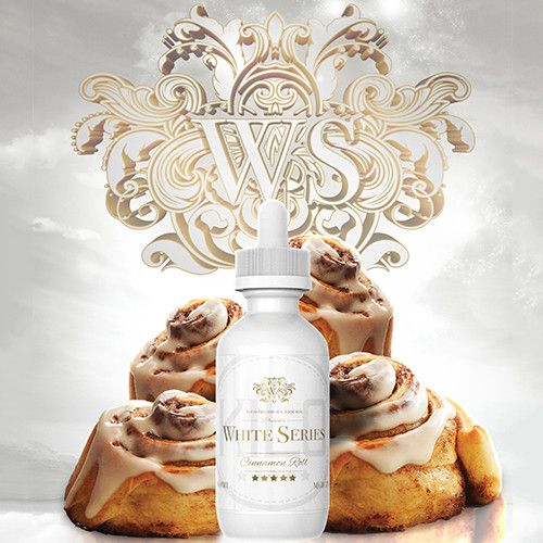 Kilo eLiquids White Series Cinnamon Roll - Sweet aromatic cinnamon baked into rich buttery rolls, drizzled with a velvety smooth frosting. The perfect vape to wake up to in the morning. 70% VG