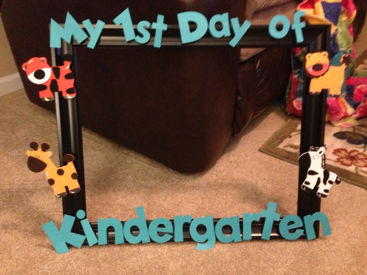 Made this frame to use on the first day of school. The kiddos will hold it up for a picture... Cut out letters on Cricut machine...frame is from Michaels and animals are from ACMoore