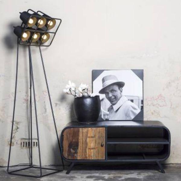 TV Möbel Sideboard Retro 120 Cm Metall Schwarz Massivholz Vor Ort  Besichtigung In Unserer Ausstellung Möglich