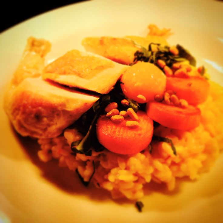 Saffron and sweet Potato risotto, pine nuts, 64degree egg yolk with Roast Chicken