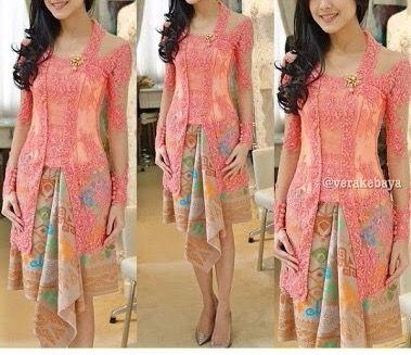 Vera kebaya, peach, pink, setinggi lutut, kain motif warna pastel