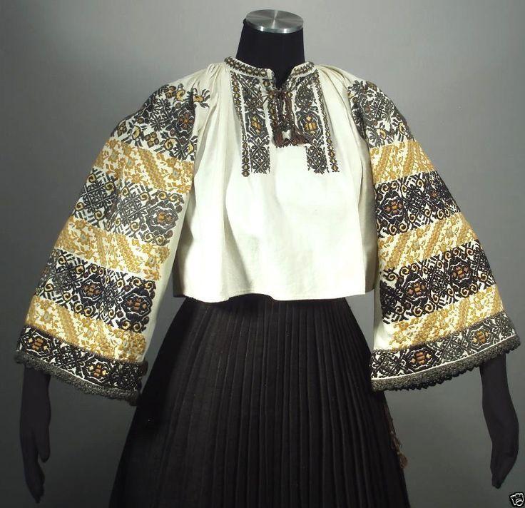 Vintage Romanian Embroidered Peasant Blouse Linen Folk Costume Ethnic Fashion   eBay