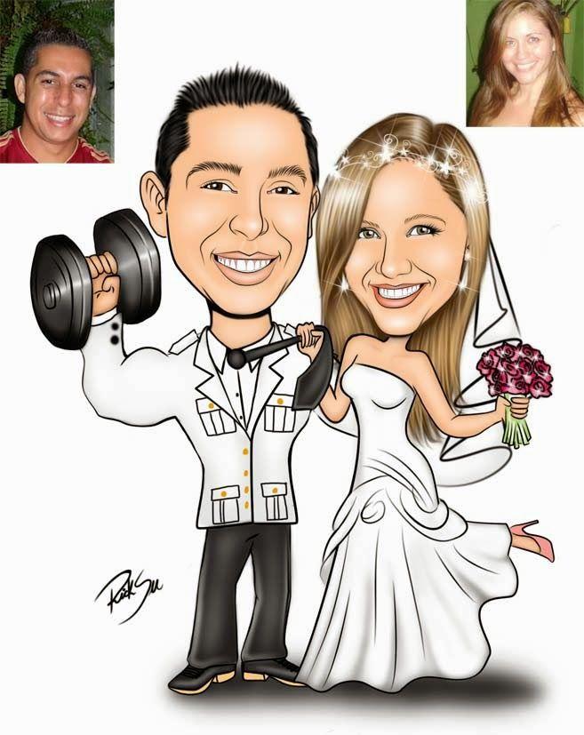 Caricatura de noivinhos feito para Marta !!! O noivo está com a farda de gala da PMRJ e adora academia para ficar malhado. A noiva ficou muito linda com o vestido e sapato rosa. Parabéns casal !!! visite nosso site: www.ricksucaricaturas.com.br