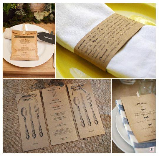 menu mariage vintage retro sac papier kraft rond serviette couverts