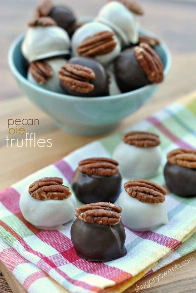 Pecan Pie Truffles: delicious bites of pecan pie in a chocolate truffle coating! #Thanksgiving #truffles #pecanpie