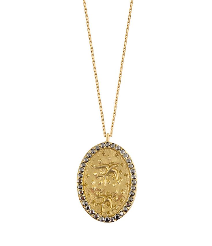 Feidt Paris Hand Ibiza Long Necklace in 9K Gold and Grey Sapphire Eg2QwVSNoG