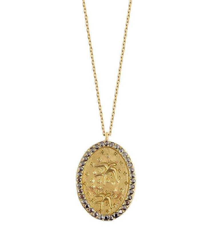 Eye Ibiza Necklace in 9K Gold and Grey Sapphire Feidt Paris GBtoY7ebm