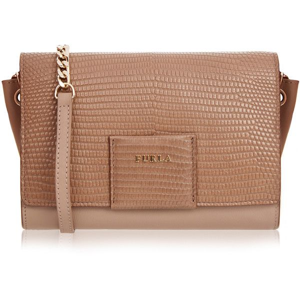 Furla Zizi Brown Clutch (10.590 RUB) ❤ liked on Polyvore featuring bags, handbags, clutches, neutrals, beige handbags, leather handbags, furla handbags, genuine leather purse and brown clutches
