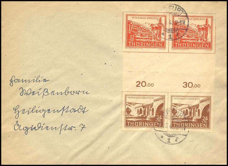 """German Russian Occupation, SBZ 1946, Thüringen, Brücken-Zwischenstegpaar, senkrecht (12+ 24) im 4er-Block auf Sammler-ERSTTAGSBRIEF, mit Stempel """"ERFURT/30.3.46"""", gepr. Schulz BPP (FDC, Mi.-Nr.SZd 2ay). Price Estimate (8/2016): 25 EUR."""