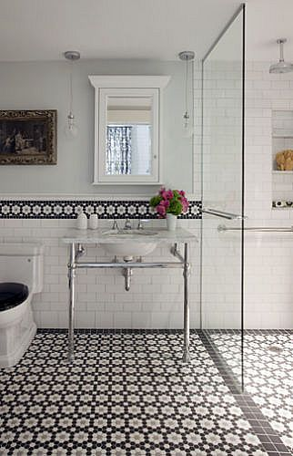 mosaic tile + walk-in shower