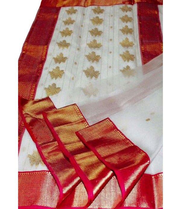 Off White Handloom Katan Silk Chanderi Saree