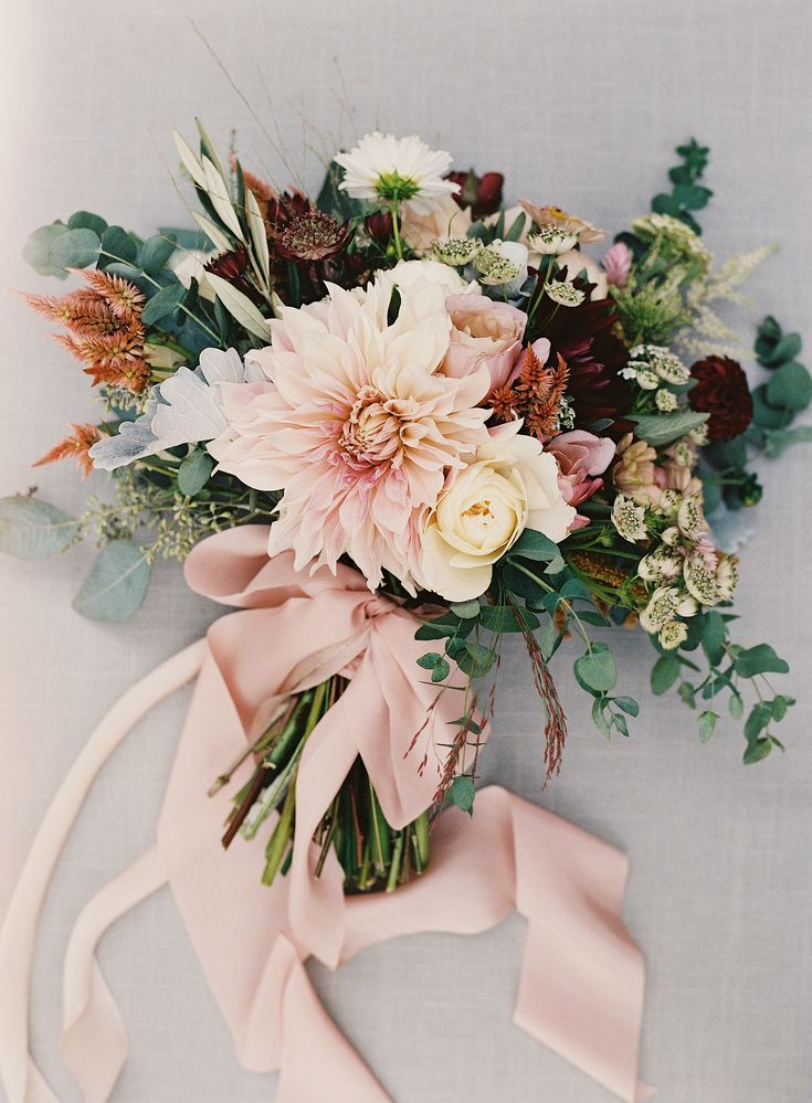 Hand-Tied Floral Design Wedding Bouquet With Silk and Willow Ribbon with flowers grown and designed by Meadow Wilds for a Glynwood Wedding in the Hudson Valley. Susan Baker Photography