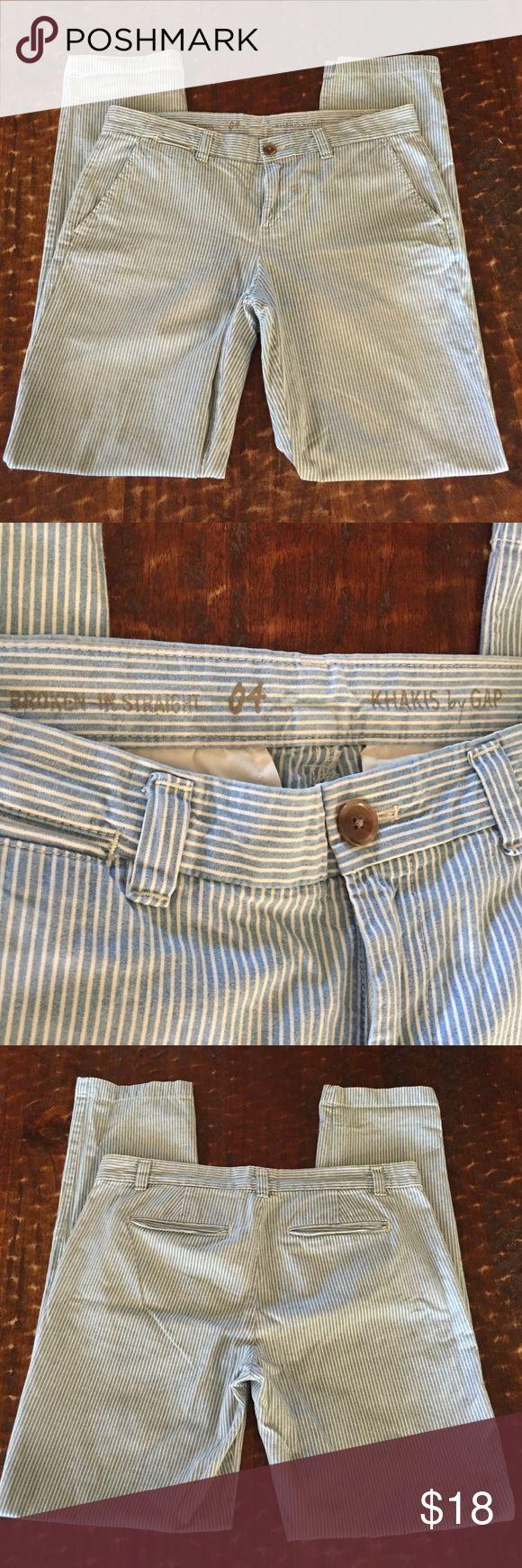 "Gap broken in straight pants, size 4, 31"" inseam Gap broken in straight striped pants, size 4, 31"" inseam, good condition! GAP Pants Straight Leg"