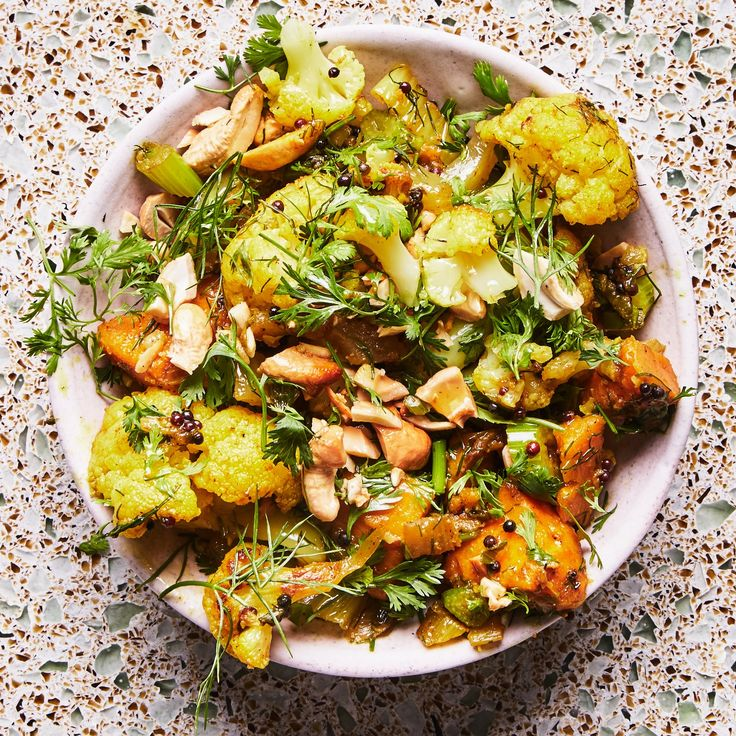 Spicy Cauliflower Sabzi with Cashews // bon appetit