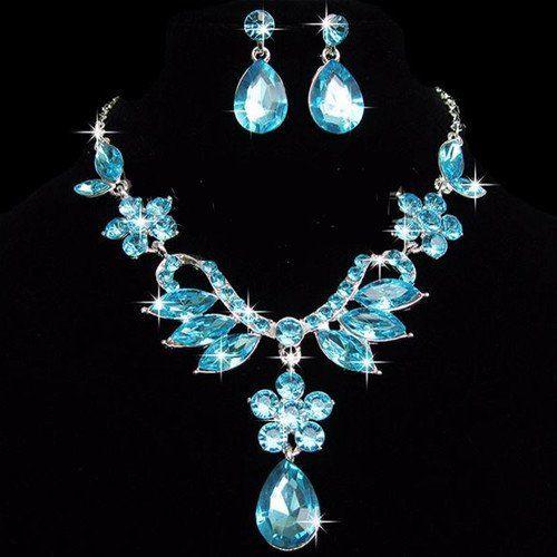 Elegant Topaz Blue Crystal Rhinestone Flower Drop Pendant Necklace Ear – UCHARMME.co.nz
