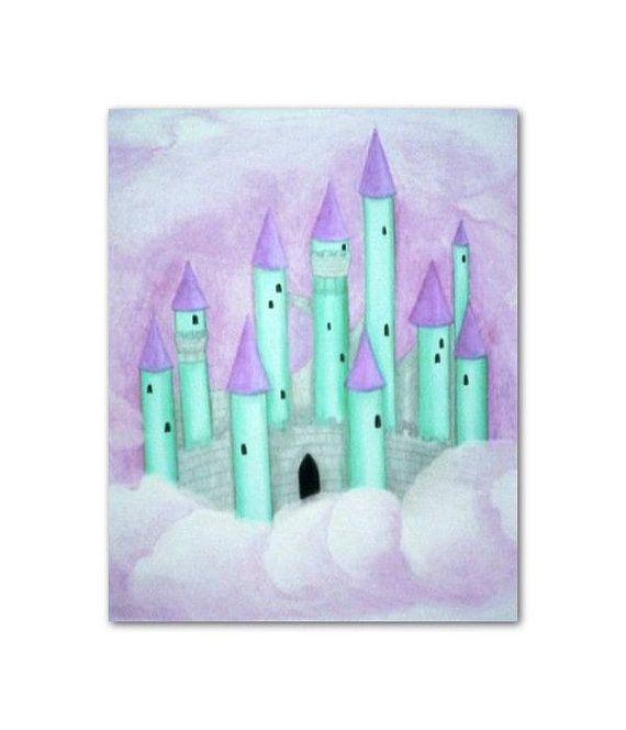 Princess Castle Wall Art for Girls Castle Art Print Baby