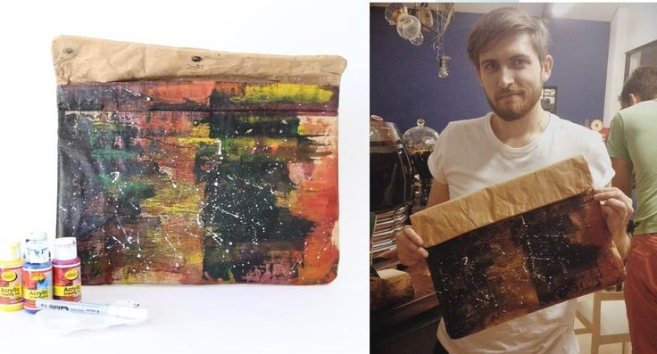"""Customised Wren Laptop Sleeve """"Paint effects"""" by Nick Muljren using Acrylic Drawing Inks at our Drink & Draw event held at Tribe Coffee, Woodstock."""