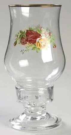 Glassware Hurricane in the Old Country Roses pattern by Royal Albert China