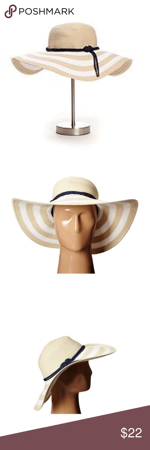 """🆕 Betmar Sunhat New without tag...Introducing the Betmar Demetria Sunhat. This is the perfect hat for the beach. The wide brim gives you great sun protection and it will look great with any solid color bathing suit. The contrast color hat band makes the hat stand out from the rest.   Approx. 4"""" Crown 5"""" Brim   Made of: 88% Toyo Straw (Paper) 12% Polyester   UPF 50+ Sun Protection Rope Hatband Betmar Side Pin Elastic Sweatband Unlined Packable Betmar Accessories Hats"""