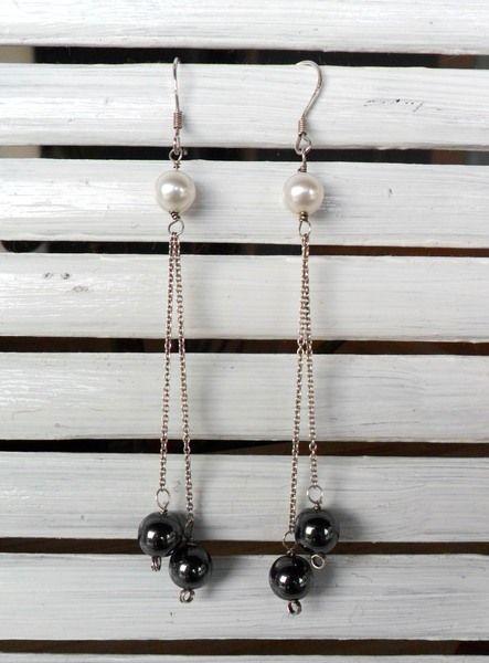Orecchini argento perle e Hematite di CerBys Gioielli su DaWanda.com