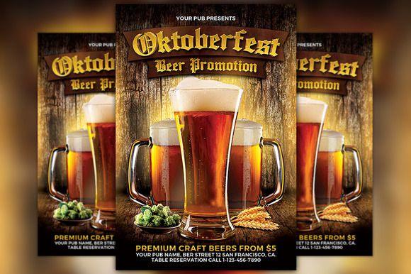 Oktoberfest Flyer Template by Flyermind on @creativemarket
