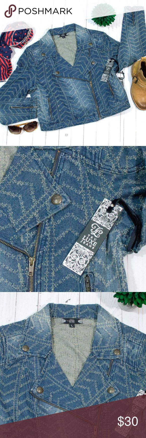 """NWT Tru Luxe Distressed Dark Wash Jean Jacket L Very Nice Tru Luxe Distressed Jacket, Style T0310J. Features 2 Zip Up Pocket in Front and Cuffs, Front Zipper and Decorated Button on Collar. Medium Weight Jean Jacket, Decorated Material.  Size: Large Chest:  40"""" Waist:  38"""" Length:  19"""" Sleeve Length: 24""""  100% Cotton  Turn Inside Out when Washing Tru Luxe Jackets & Coats Jean Jackets"""