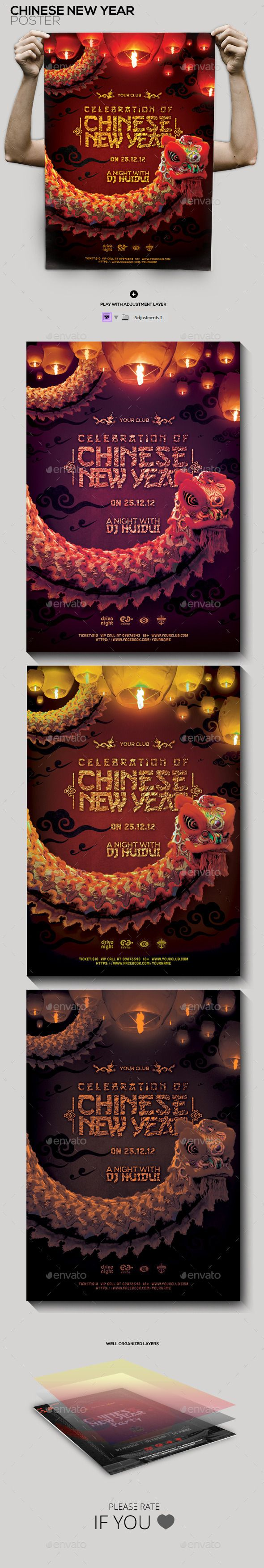 Chinese New Year Celebration Flyer/Poster — Photoshop PSD #red #new • Available here → https://graphicriver.net/item/chinese-new-year-celebration-flyerposter/9929614?ref=pxcr