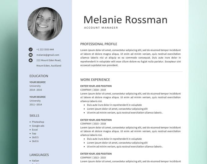 Creative Modern Resume Cv Template For Word And Pages Cv Etsy Cv Template Resume Template Cv Template Word