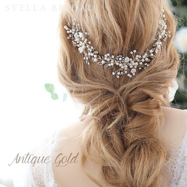 フローラルチャームの小枝ヘッドドレス リズ ウェディングヘア