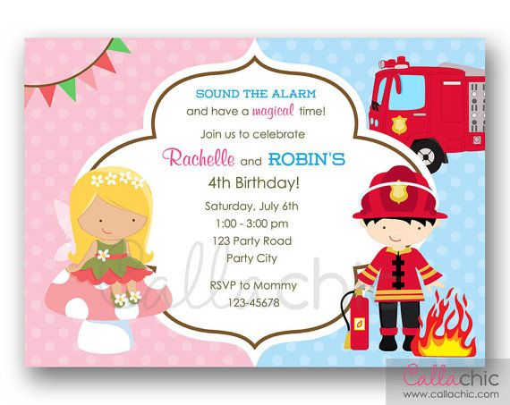 Printable Joint Birthday Party Invitations ~ Fairy princess and firefighter birthday invitation printable twin joint split sibling
