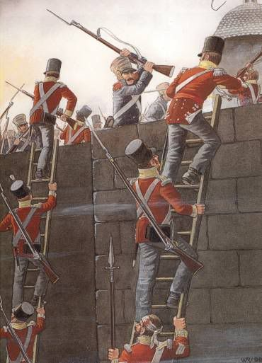 British troops scaling the wall at Badajoz, Spain during the Peninsular War (www.elgrancapitan.org/foro)