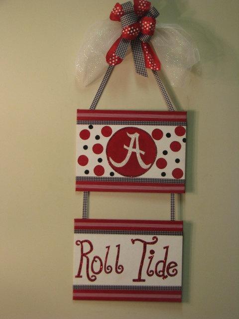 Alabama Roll Tide Door Hanger Painted Canvas by FrontDoorDesigns, $36.00