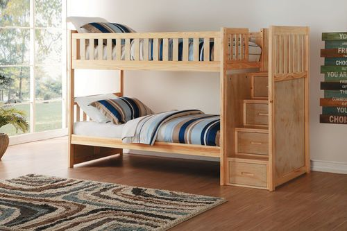 Shop the Charlton Pine Twin over Twin Bunk Bed with Stairs at discounted price. Lowest priced bunk bed with stairs for kids room.