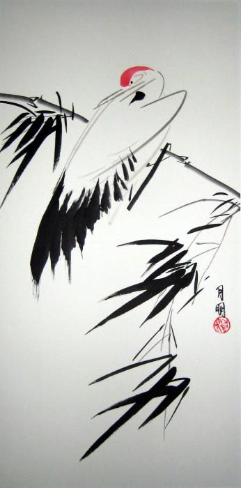 Stork and bamboo. The art style is the inspiration.