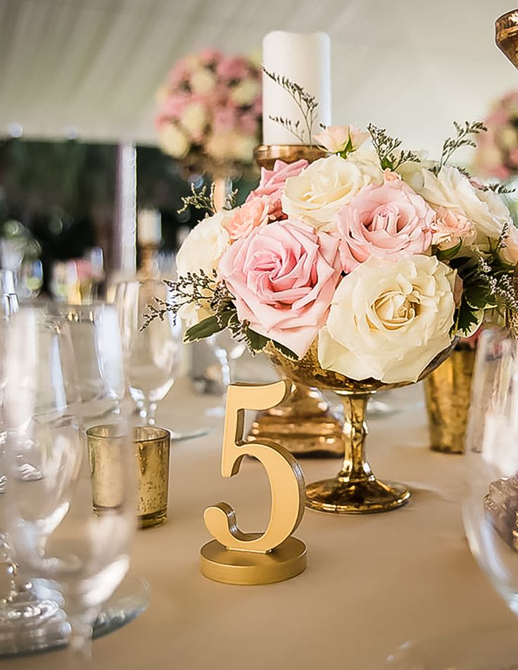 What Kind of Bride are You? If you prefer Gold, Classic Elements with Unique Handcrafted Statement Pieces, this table number style is for you! | Handmade Table Numbers by www.zcreatedesign.com... or Shop Z Create Design on Etsy