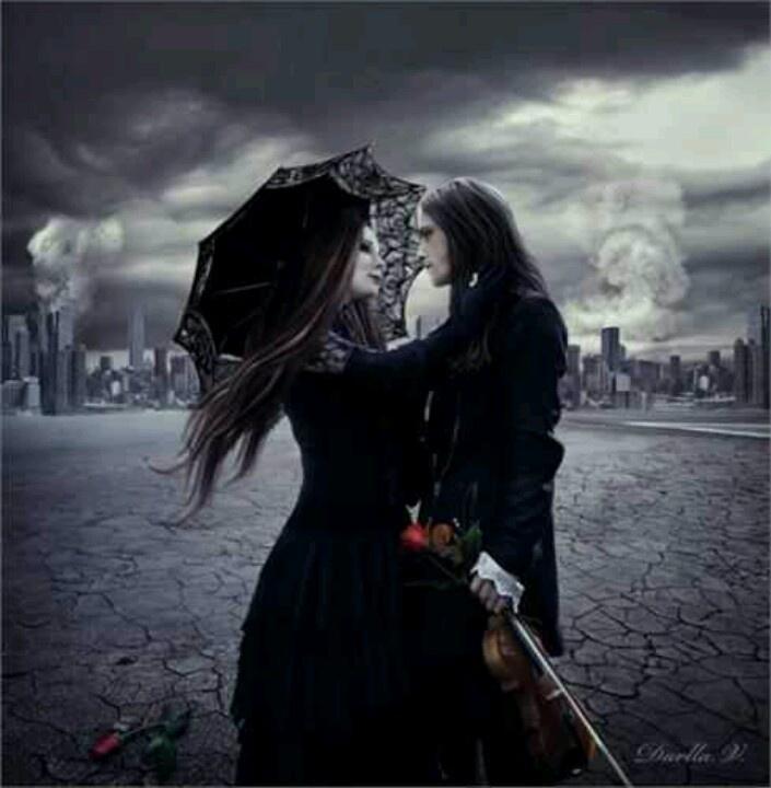 Gothic couple goth love