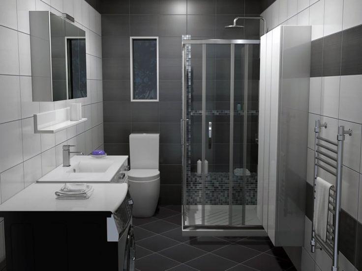 Όλες οι επιφάνειες του μπάνιου επενδύθηκαν με πλακάκια από την σειρά Hobby τα οποία έχουν διάσταση 25 x 33 cm και διαθέτουν γυαλιστερή επιφάνεια.