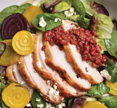 Roasted Turkey Breast & Beet Salad with Raspberry Vinaigrette