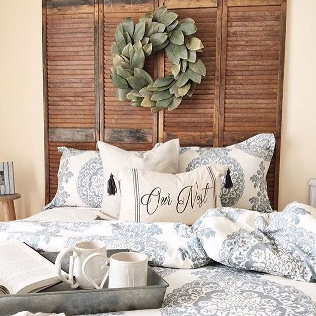 Pottery Barn Lucianna Medallion Duvet looks great in the room!  #mypotterybarn