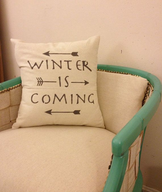 "Winter Is Coming, Quote Pillow, Arrow Decor, Decorative Throw Pillow, Game of Thrones, House Stark, Typography,  20"" x 20"" pillow"
