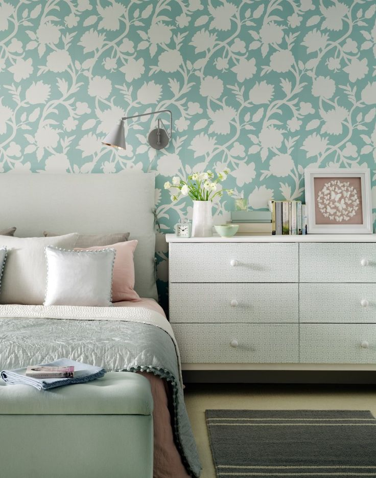 Traditional Bedroom with Green Floral Wallpaper