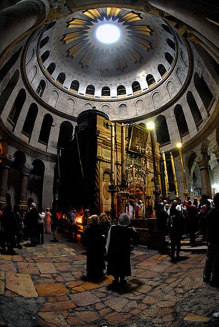 "Christ's Tomb, Church of the Holy Sepulchre, Jerusalem "" Christ was buried in a rich mans tomb, Jesus only barrowed it for three days "" I serve a risen savior he's in the world today, I know that He is risen. Whatever man my say. "" People why do you stare, Jesus is no longer there """