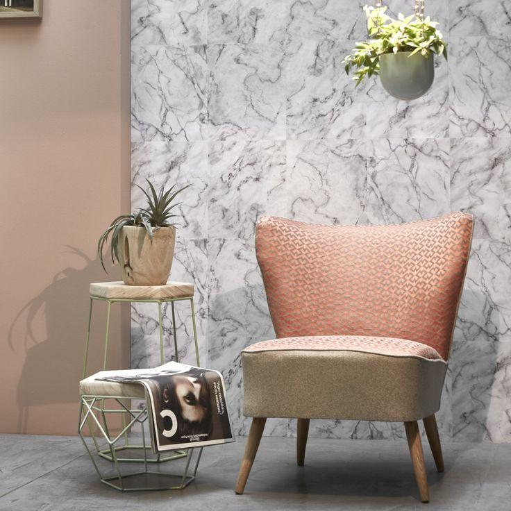 Papier Peint Dalles de marbre blanc grisé - Koziel.fr