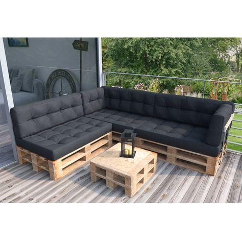 Coj n para sof sof antracita interior almohada set 3 for Cojin para muebles de jardin en palet